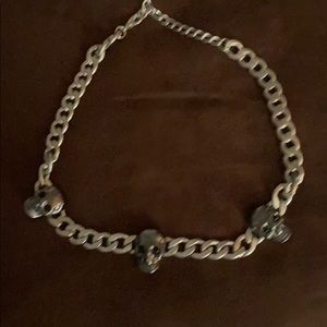 Other - Silver link necklace with 3 skulls